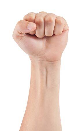 mans hand isolated on white background photo