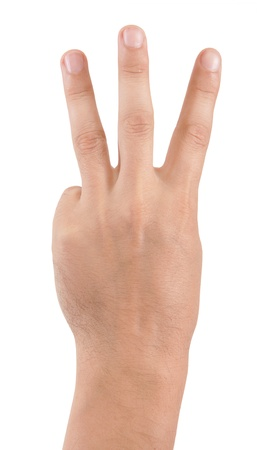 mans hand isolated on white background photo