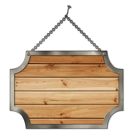 hanging sign: wooden sign hanging on the chains isolated on a white background Stock Photo