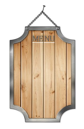 wooden menu board . isolated on white. photo