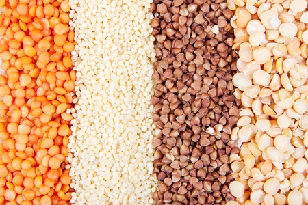 Background of different kinds of grains Stock Photo
