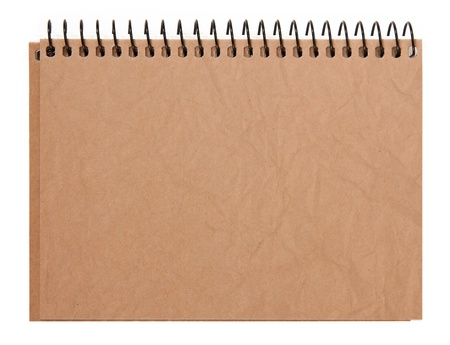brown cover notebook recycle paper isolated on white background photo