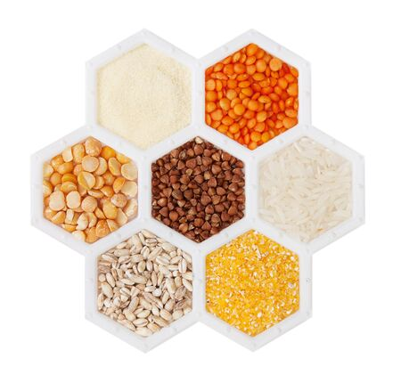 hexagons with different varieties of cereals. photo
