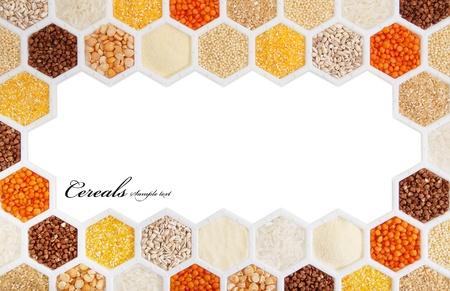 hexagons with different varieties of cereals. photo