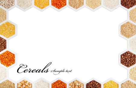 seeds of various: hexagons with different varieties of cereals. Stock Photo