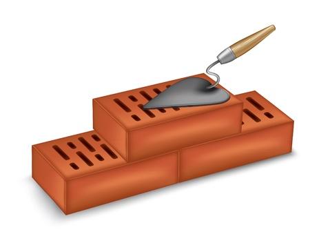 brick mason: bricks with a trowel.
