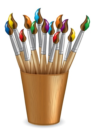Brush in a wooden cup Vector