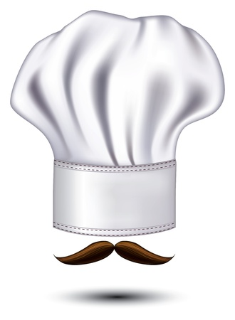 white moustache: icon hats chef with a mustache Illustration