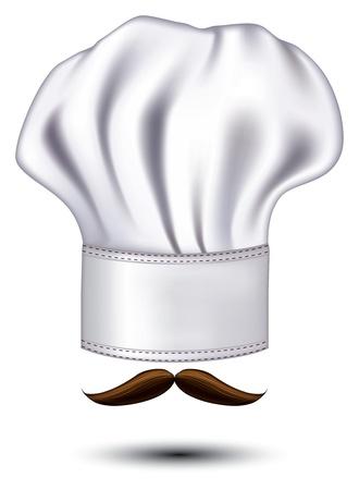 chef uniform: icon hats chef with a mustache Illustration