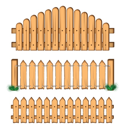 chain fence: set of wooden fences.  Illustration