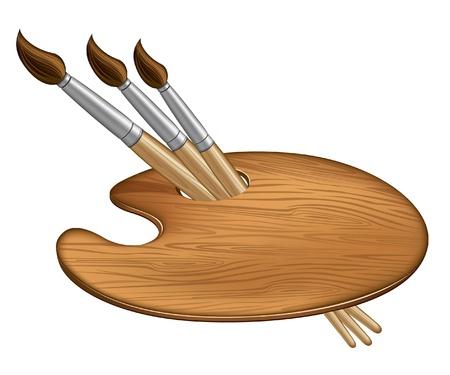 paleta de pintor: Tres pincel en la paleta