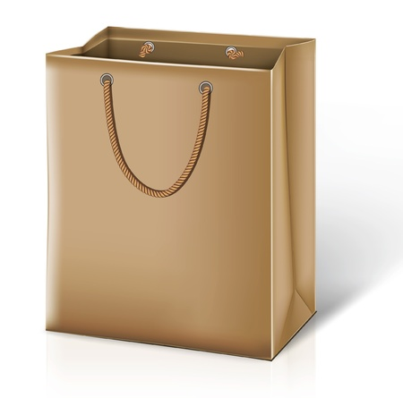 white paper bag: Paper bag. Illustration
