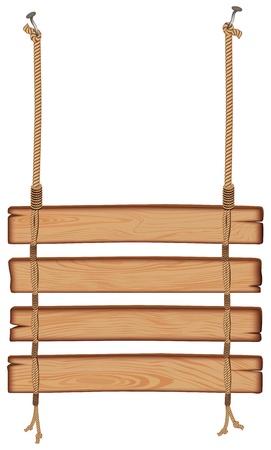 appendere: blank cartello in legno appeso a una corda. isolato su sfondo bianco