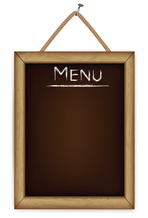 chalkboard: wooden menu board. Illustration