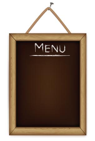 blank chalkboard: wooden menu board. Illustration