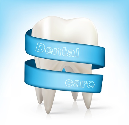white tooth with a blue ribbon. Vector
