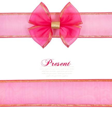 lazo rosa: Arco de color rosa sobre fondo blanco