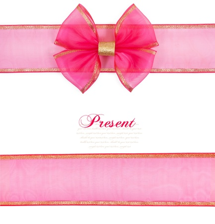 Pink bow isolated on white background photo