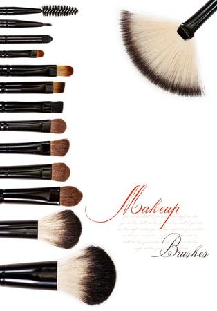 makeup brush: makeup brush set isolated on white background
