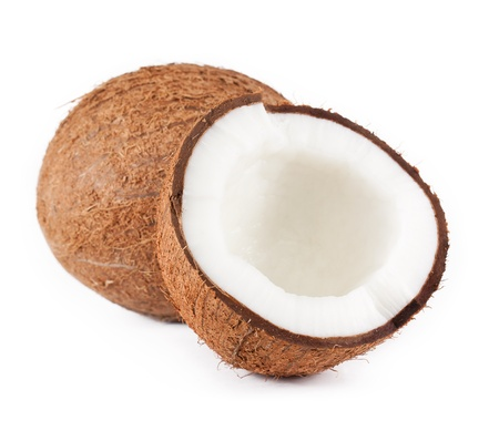 with coconut: Coconut. isolated on a white background