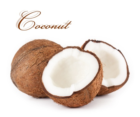 half open: Coconut. isolated on a white background