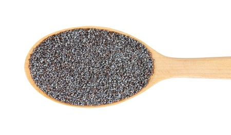 seeds of various: Poppy seeds on wooden spoon. isolated on a white background Stock Photo