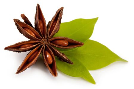 aniseed: star anise. isolated on a white background Stock Photo