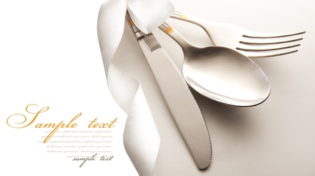 silver cutlery: cutlery - knife, spoon and fork . isolated on a white background