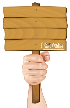 protest sign: A hand holding a wooden sign. Illustration
