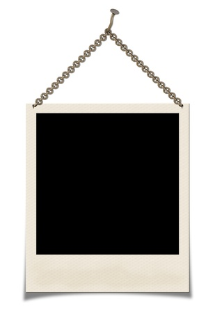 white polaroids: Photo hanging on a chain  isolated on a white background