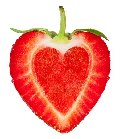 A strawberry with a heart inside  isolated on a white background Stock fotó