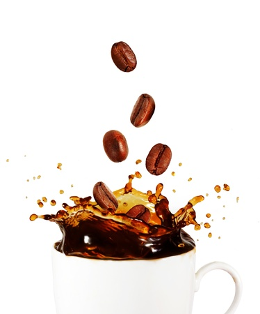 Splash of coffee with coffee beans