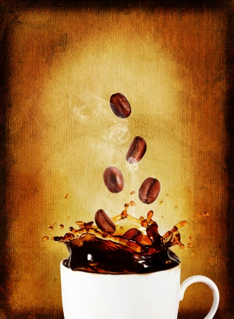 Postcard.Splash of coffee with coffee beans photo
