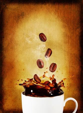 Postcard.Splash of coffee with coffee beans