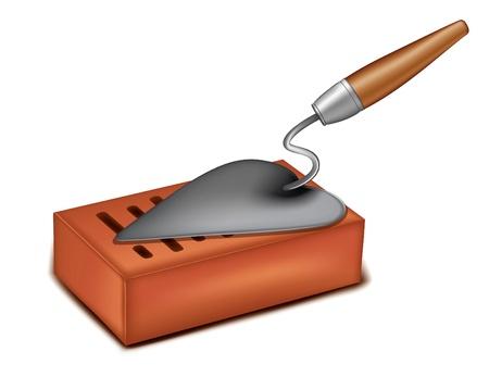 bricklayer: bricks with a trowel