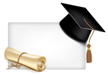 diploma border: Graduation cap and diploma
