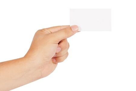 hand holding card: hand holds the card Stock Photo