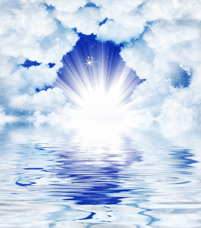 jesus in heaven: Divine light through the clouds Stock Photo