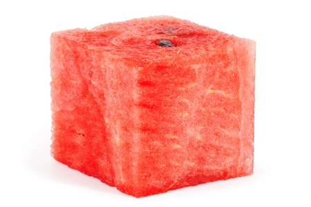 sliced watermelon: Cube of watermelon  isolated on white background