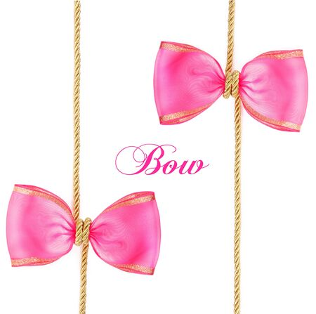 pink ribbons: pink bow isolated on white background