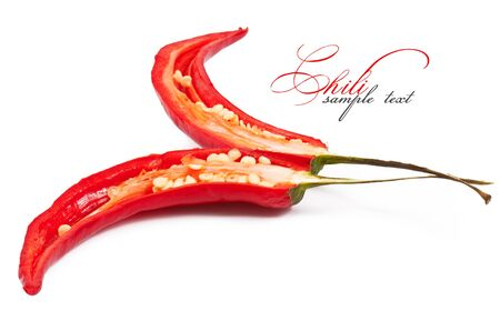 capsaicin: chili in the section isolated on white background Stock Photo
