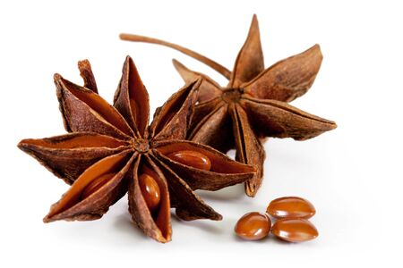 licorice: star anise. isolated on a white background Stock Photo
