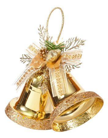 campanas de navidad: campanas de oro aisladas en blanco