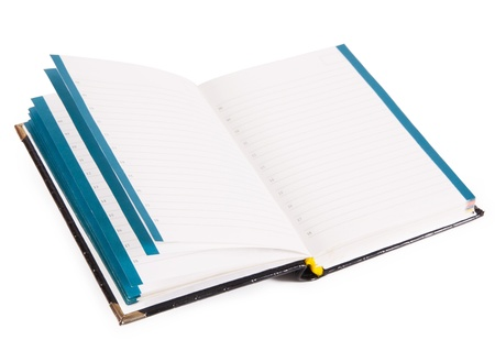 Open notebook isolated on white background Stock Photo