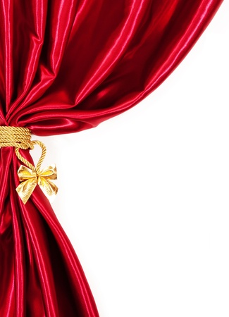 velvet rope: Silk curtains. isolated on white background