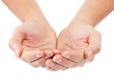 giving hands: Open palm gesture. isolated on white background Stock Photo