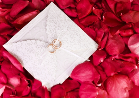 two rings on the wedding card among the rose petals