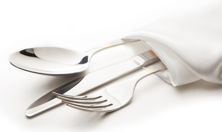 knife and fork: cutlery - knife, spoon and fork tied ribbon