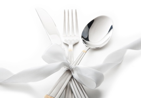 flatware: cutlery - knife, spoon and fork tied ribbon