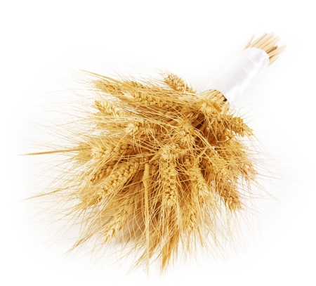 haystack: Bunch of wheat ears isolated on white background Stock Photo